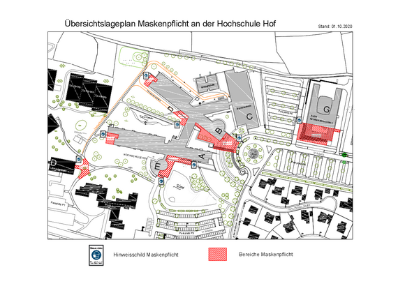 Lageplan zur Maskenpflicht am Campus Hof / Map of the mask requirement on Campus Hof